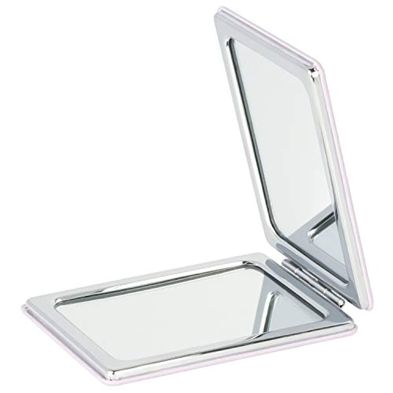 Mouyor 両面コンパクトミラー 手鏡 化粧鏡 携帯ミラー ハンドミラー 5倍拡大鏡+等倍鏡 折りたたみ (角形-A4)