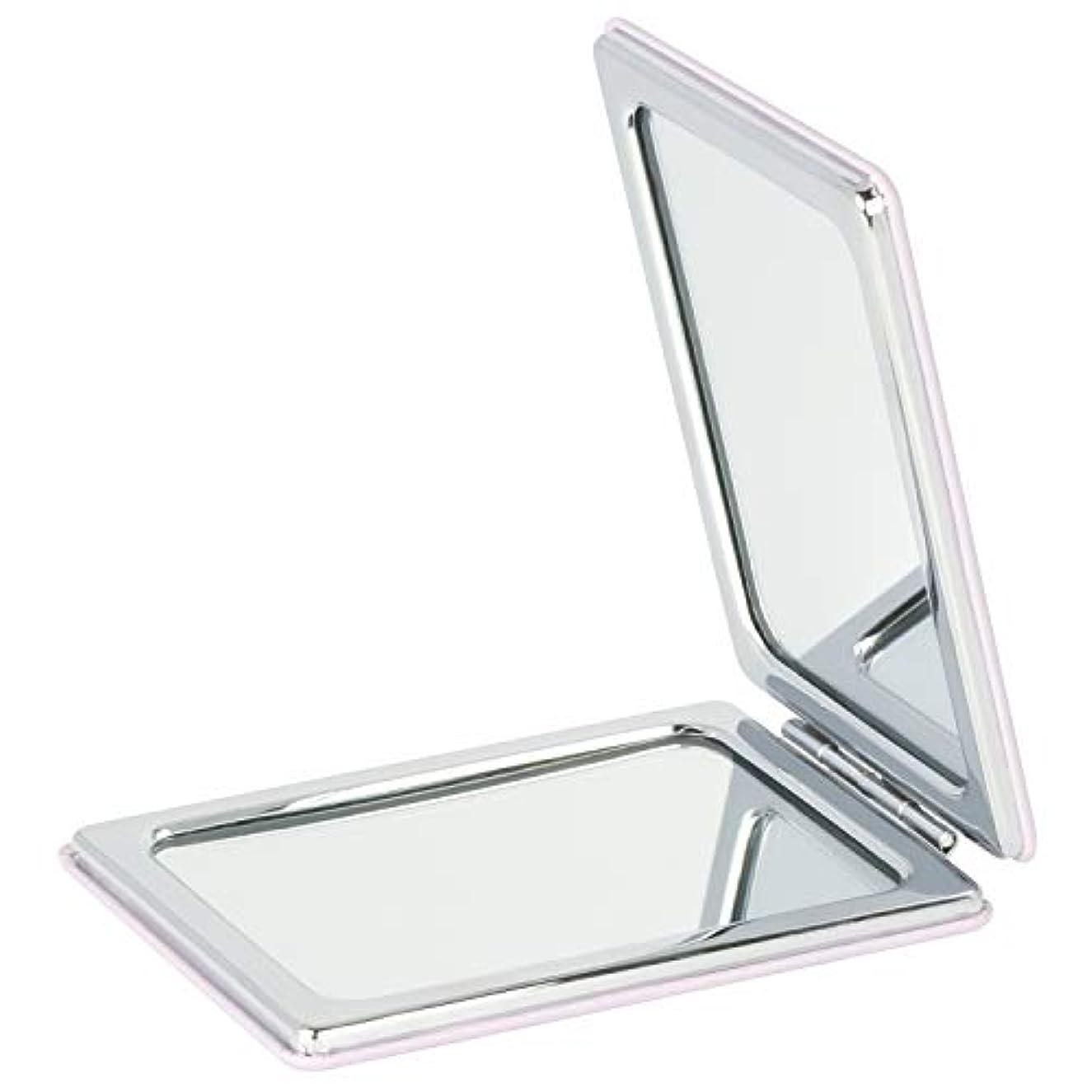 ジョージスティーブンソン権威同盟Mouyor 両面コンパクトミラー 手鏡 化粧鏡 携帯ミラー ハンドミラー 5倍拡大鏡+等倍鏡 折りたたみ (角形-A4)