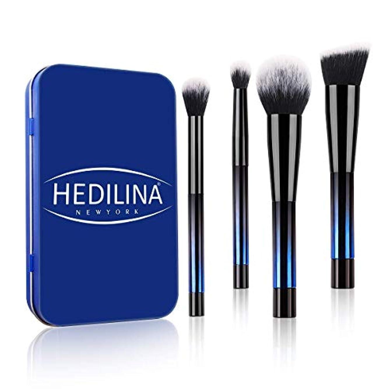 ステンレス意志消去HEDILINA メイクアップブラシ 4本セット アイブラシ 高級繊維毛 ケース付き 旅行/出張用 ポータブル