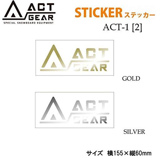スノーボード ステッカー ACT GEAR [ACT-1] 【2】アクトギア カッティングステッカー (SILVER)