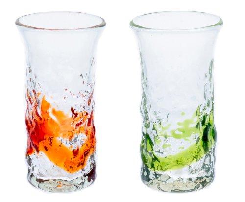 でこ一口ビアグラス2個セット(オレンジ・緑)