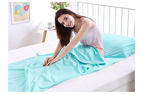 VIOMO 寝袋 シュラフ コンパクト 封筒型 綿製 軽量 収納袋付き 災害対策 車中泊 丸洗い可能 (ブルー, 1人用)