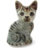 3 D Ceramic Toy Grey Cat Dollhouse Miniatures Free Ship by ChangThai Design [並行輸入品]