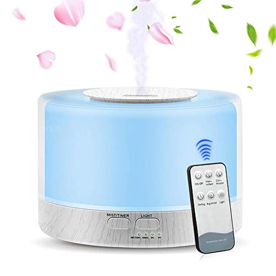 騒スラッシュ寛大さエッセンシャルオイルディフューザー、大容量700Ml加湿器超音波アロマセラピーアロマセラピーディフューザー加湿器、タイマー、静かな操作、7色フレグランスランプ、ホームオフィス用ヨガSPA