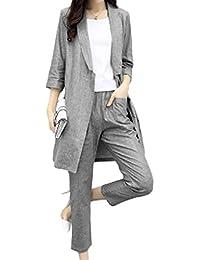 [もうほうきょう] 麻綿スーツ レディース 新型 春 2点セット コート 九分ズボン ファッションセット 秋 薄手スーツ カジュアルスーツ