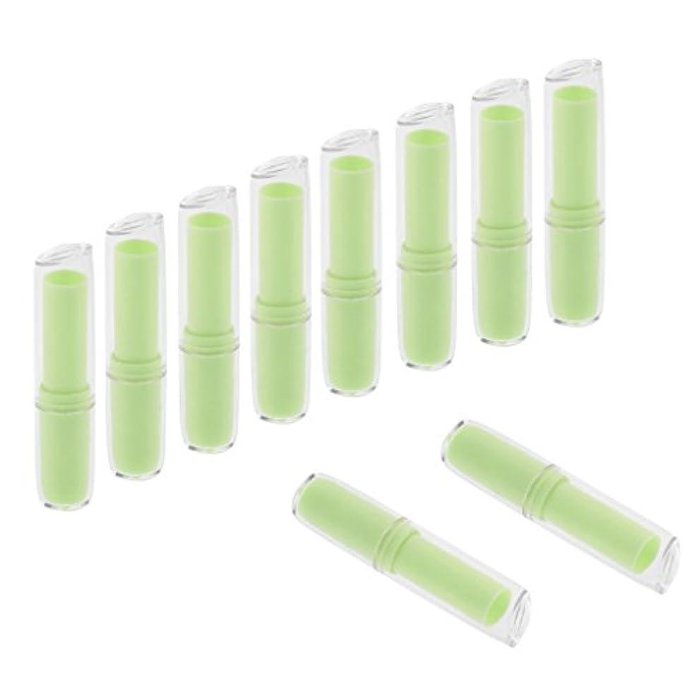 グロー多様性ライブInjoyo 口紅チューブ リップクリーム容器 口紅容器 リップスティック コンテナ プラスチック材質 約10個 全6色 - 緑