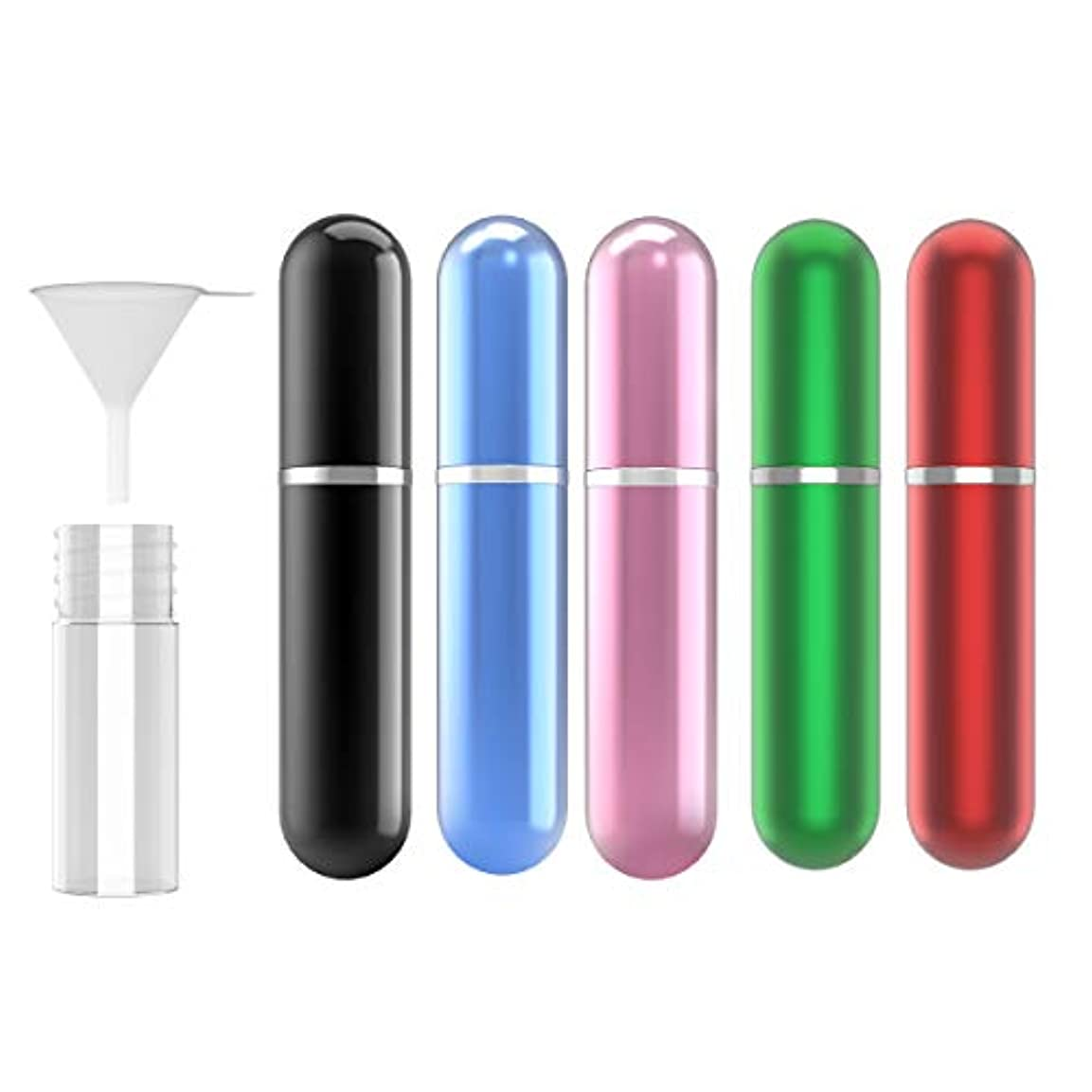 家主ボンド降ろす香水アトマイザ- 5ml 5色セット 香水ボトル ポータブル プッシュ式 クイック 香水噴霧器 携帯用 詰め替え容器 香水用 香水小分け 漏斗付き 香水 スプレーボトル