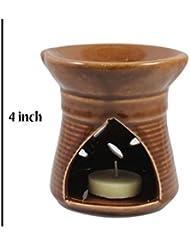 インドホームインテリア定期的に使用する公害防止手作りセラミッククレイアロマオイルバーナー&ティーライトランプキャンドル/モダンプージャーディヤ/良質ブラウンカラーアロマオイルバーナーまたはアロマオイルディフューザー1個ティーライトキャンドル