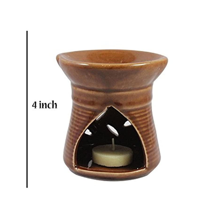 北腰音節インドホームインテリア定期的に使用する公害防止手作りセラミッククレイアロマオイルバーナー&ティーライトランプキャンドル/モダンプージャーディヤ/良質ブラウンカラーアロマオイルバーナーまたはアロマオイルディフューザー1個ティーライトキャンドル
