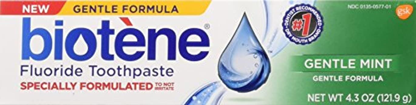 標準に抵抗Biotene Gentle Mint Fluoride Toothpaste 4.3 Oz, by Biotene