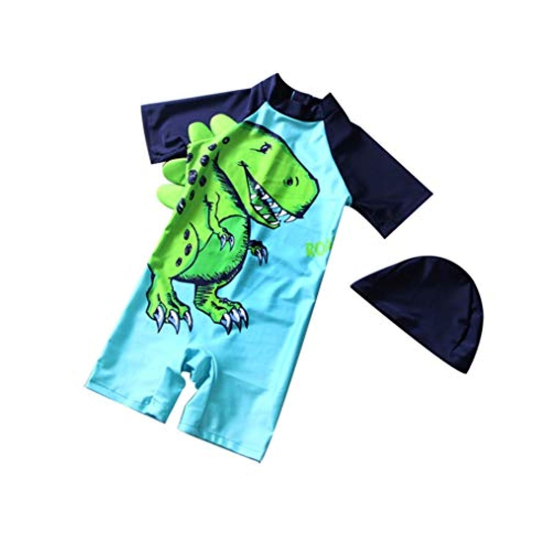 MEXIAOYOU ベビー服 ロンパース 水着 男の子カバーオール 半袖 夏服 純色 帽子付き 背中開き 恐竜柄 肌着 百日祝い 出産祝い