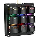 Koolertron片手マクロメカニカルキーボード 9キーフルプログラム可能ゲーミングキーボード カスタマイズ可能小型キーボード RGB LEDバックライト OSUに適用 (赤軸RGBブラック)