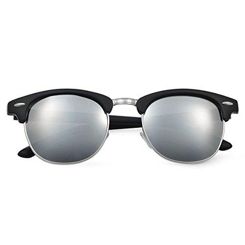 Yveser 偏光レンズ クラブマスターサングラス メンズ & レディース用 (マットブラックフレーム/シルバーレンズ)