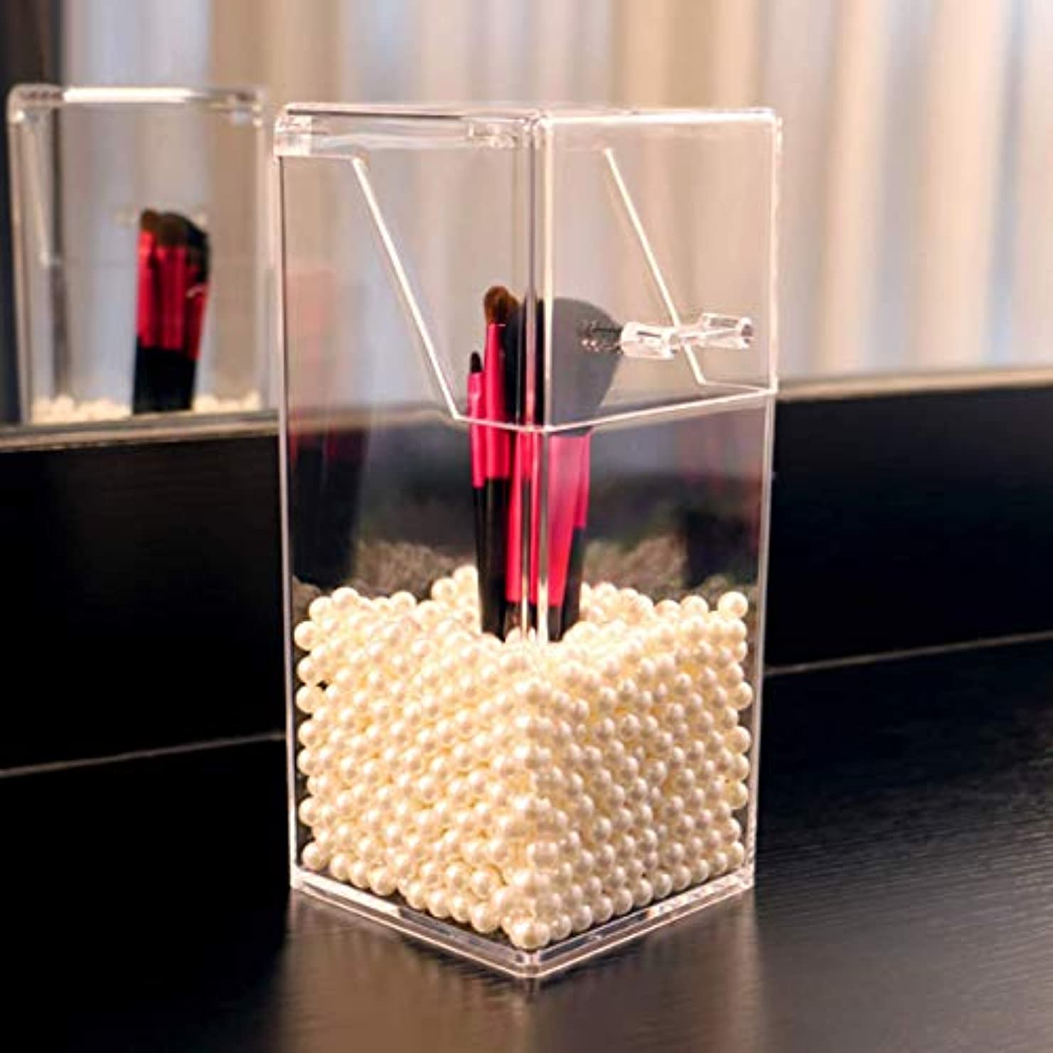 縫う第三正午KIMASSY 透明 メイクブラシホルダー アクリル 収納 ボックス コスメ ブラシホルダー (ホワイト)