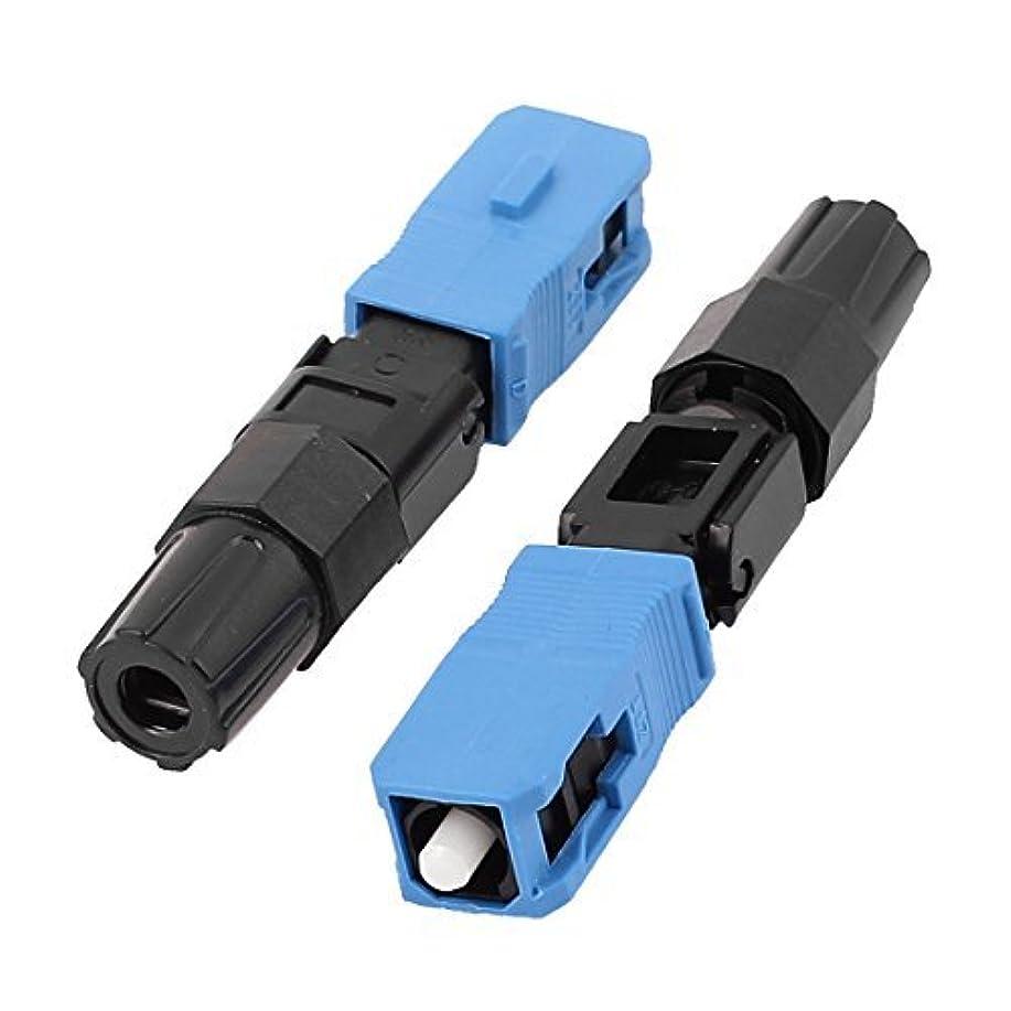 今展示会偶然のFTTHのSC / UPC-P光ファイバケーブル、クイックコネクタ2個ブルーブラック