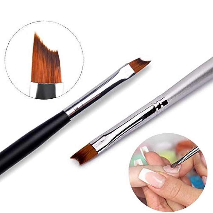 シードコンパイル章2本のフレンチチップネイルブラシシルバーブラックハンドルデザインハーフムーンシェイプアクリルUVジェル塗装ペン