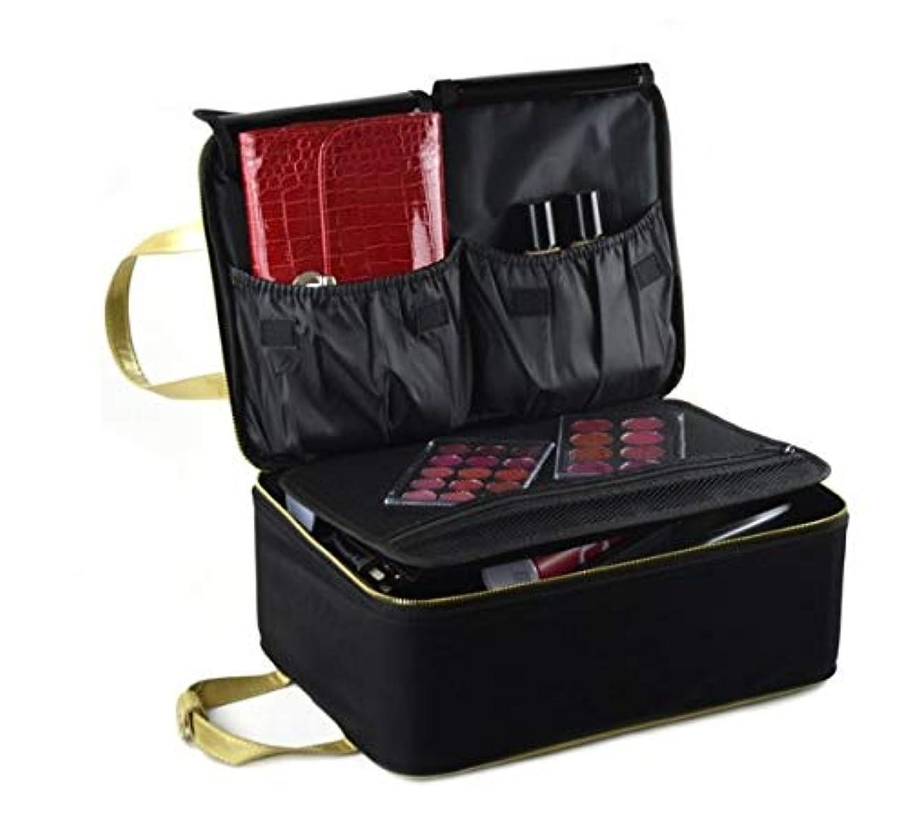 化粧箱、黒い携帯用化粧品の箱、携帯用旅行化粧品の箱、美の釘の宝石類の収納箱 (Size : S)