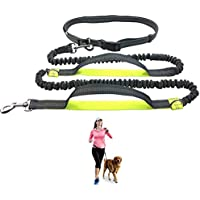 "Durable Hands Free Dog Leash for Running, Walking, Hiking, with Adjustable Waist Belt (Fits up to 47"" Waist) and Shock Absorbing Bungee (CLA-Gray/Lime)"