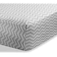 (Zigzag Grey) - Cradle Sheets Fitted 46cm X 90cm - Cradle Sheets for Boys and Girls - Abstract cradle sheets for Baby - Infant Deep Fitted Soft Jersey 100% Cotton Knit Cradle Sheets (Zigzag Grey)