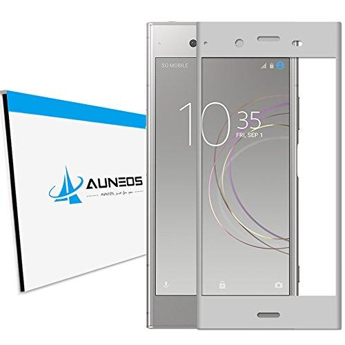 『3D全面粘着』AUNEOS Sony Xperia XZ1 フィルム SOV36 SO-01K ガラスフィルム エクスペリア XZ1 自動吸着 9H 3D 曲面 ゴリラガラス素材 指紋防止 スクラッチ防止 (Xperia XZ1, Silver)