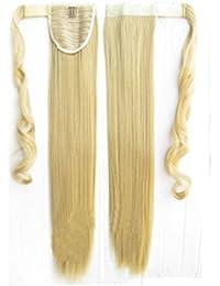CATYAA 人間の髪のポニーテールエクステンションラップ8 * 55センチメートルと100グラムロングストレート人間の髪シルキーソフト(ブラック、ダークブラウン、ライトブラウン、ゴールド、) (Color : Silver)