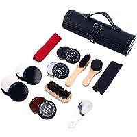 Homend Shoe Care Kit Travel Shoes Shine Brush Polish Kit with PU Leather Sleek Elegant Case 11-Piece