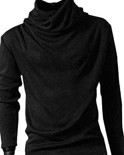 (コズーン)KO ZOON B8 メンズ tシャツ アフガンネック カットソー 長袖 インナーシャツ ストレッチ トップス ストリート モテ 服 (黒2XL)