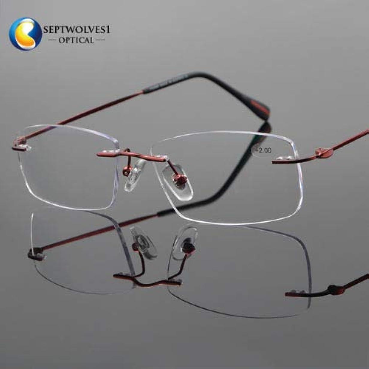 押す船上行政FidgetGear 新しいβチタン縁なし老眼鏡UV400コーティングレンズリーダー+0.00?+ 5.00 赤