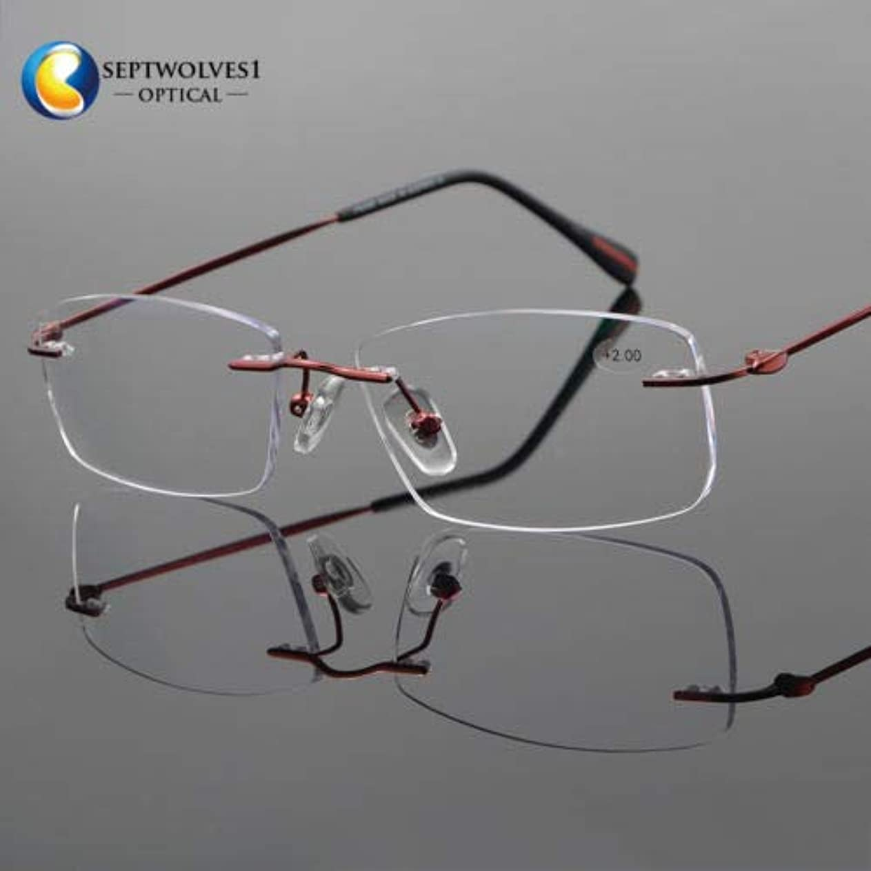 FidgetGear 新しいβチタン縁なし老眼鏡UV400コーティングレンズリーダー+0.00?+ 5.00 赤
