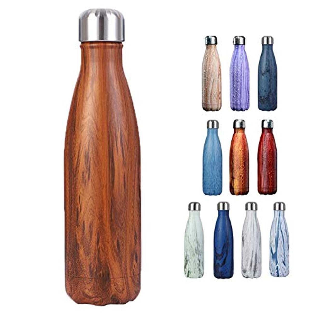 けがをする看板肺炎YiyiLai ステンレス ボトル 500 水筒 真空断熱ボトル 二重構造 保温保冷 男女兼用 スポーツボトル ウォーターボトル 木目柄 タイプC