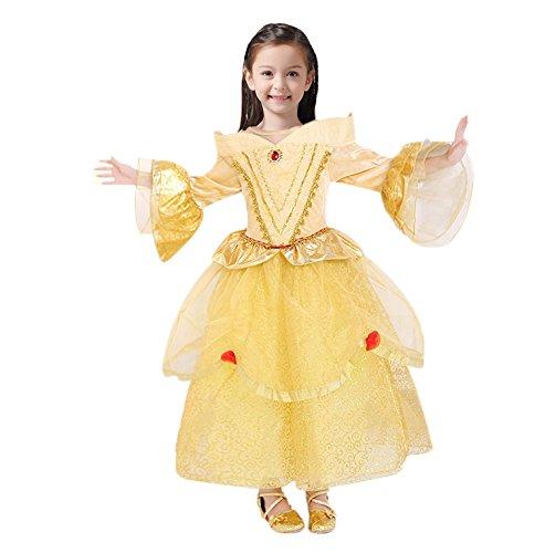 美女と野獣 ディズニープリンセス ベル フラワーガール ドレス ワンピース yellow 150CM