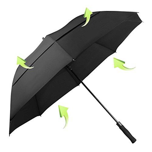 KOLER 長傘 耐風 超大 自動開き 超撥水 UVカット Teflon加工ダブルキャノピー 高強度グラスファイバー 傘 メンズ 紳士傘 ゴルフ傘 158cm 収納ポーチ付き (ブラック)