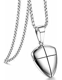 Jstyle[ジェイスタイル] メンズ 盾型 ネックレス シールド 聖書刻む ペンダント シルバー チェーンネックレス 金属アレルギー対応 サージカルステンレス316L 長さ:61cm