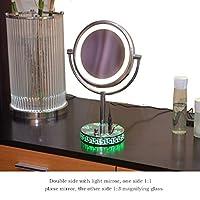 化粧鏡3倍ズーム、8インチメイクアップミラー台座テーブルミラー、浴室の寝室用、シェービングミラー化粧用化粧台ミラー両面クローム、X3倍率