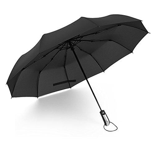 Youtumall 10本骨 自動開閉折り畳み傘 耐強風 撥水 携帯用 (直径106センチ) 3段折 折り畳み傘 自動傘 ビジネス傘 晴雨兼用 (ブラック)