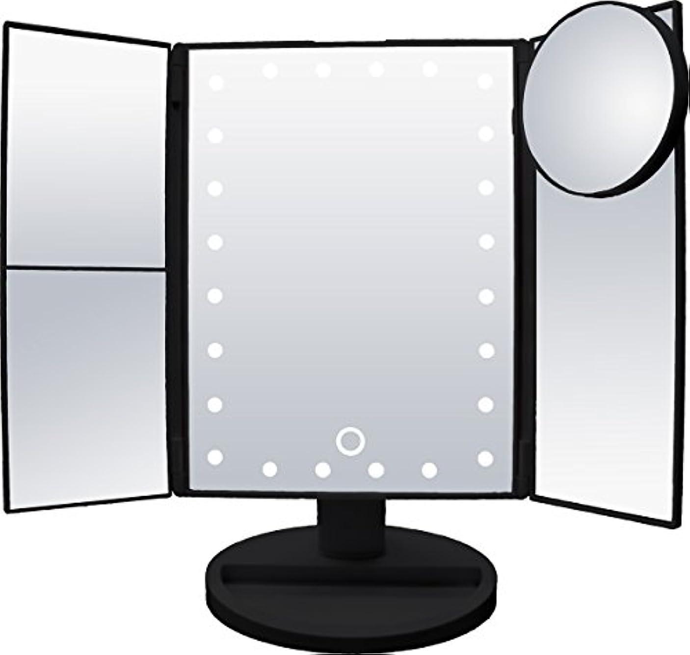 シェルター航海ののどsantasan LED化粧鏡 24灯LED 女優ミラー 15倍拡大鏡付き 卓上 折り畳み式 三面鏡 (ブラック)