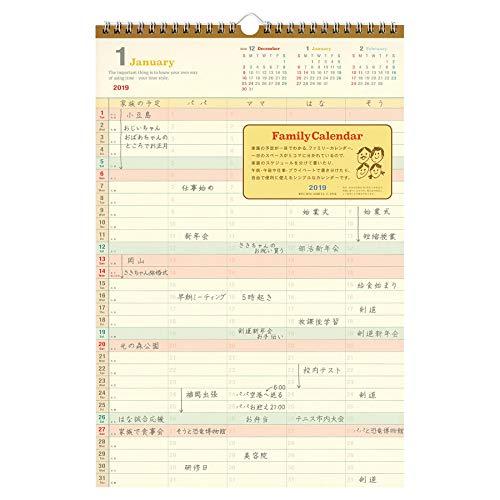 ファミリーカレンダー 壁掛けタイプ <2019年1月から2019年12月対応> C-1910