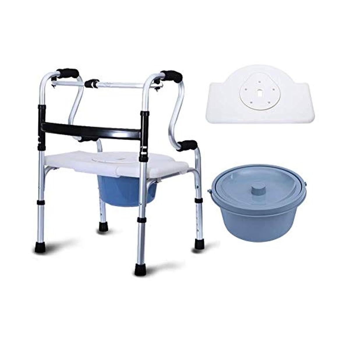 トイレ付き多機能シートウォーカー、折りたたみウォーカー調節可能な高さポータブルウォーキングフレーム