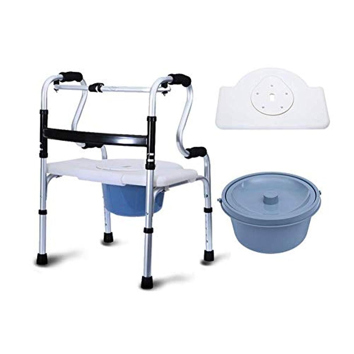 活性化するスキップに応じてトイレ付き多機能シートウォーカー、折りたたみウォーカー調節可能な高さポータブルウォーキングフレーム