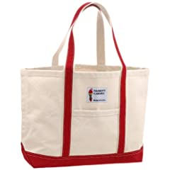 Parrott Canvas Company Hatteras Island Tote Medium IMX11-09 7036-M: Natural / Red