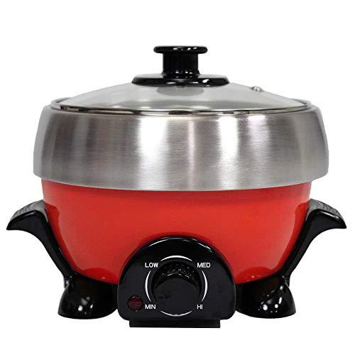 マルチポット 電気鍋 4in1 鍋 1台4役 キッチン 大容量 家電 食卓 台所 電気 コンパクト レッド