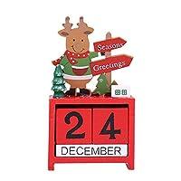 HomeMiYN クリスマス カレンダー 飾り 木製 サンタクロース 雪だるま エルク 装飾 デスクトップ 小物 置物