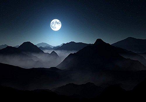 マウンテン満月の夜 風景の写真 キャンバス印刷アートポスター(60cmx90cm)