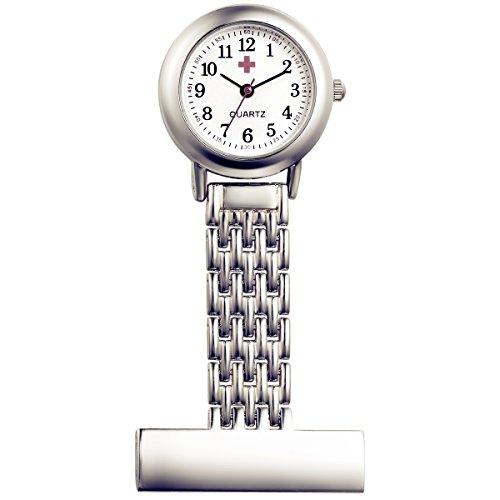 [해외]Lancardo 간호사 시계 간호사 소형 시계 스테인레스 벨트 회중 시계 남녀 겸용 아날로그 표시 실버 수납 파우치/Lancardo nurse watch small watch for nurse stainless steel belt pocket watch with unisex analog display silver storage pouch