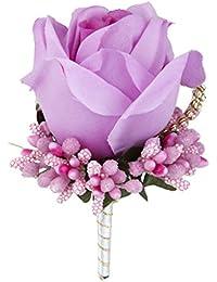 SONONIA コサージュ 結婚式 ウェディング パーティー 花嫁 新郎用 フラワーブローチ 赤紫