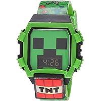 Minecraft Boys' Quartz Watch with Rubber Strap, Green, 24 (Model: MIN4052AZ)