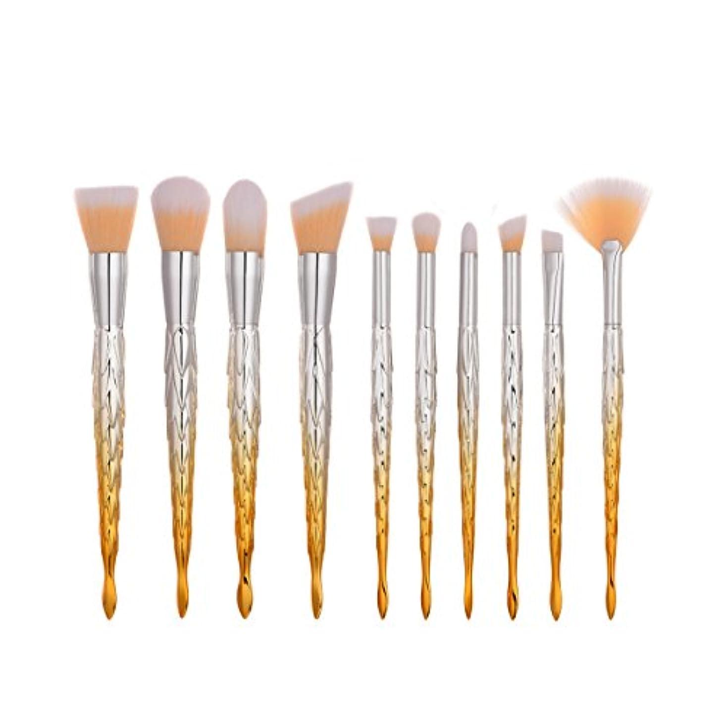 山昇進コアディラビューティー(Dilla Beauty) 10本セットカラフルなマーメイドメイクブラシセットプラスチックハンドル魚ブラシプロフェッショナルフェイスメイクアップブレンダースポンジパフブラシユニークなレインボーブラシ、ティーンズガールズ女性のための格安プライム (オレンジ - ホワイト)