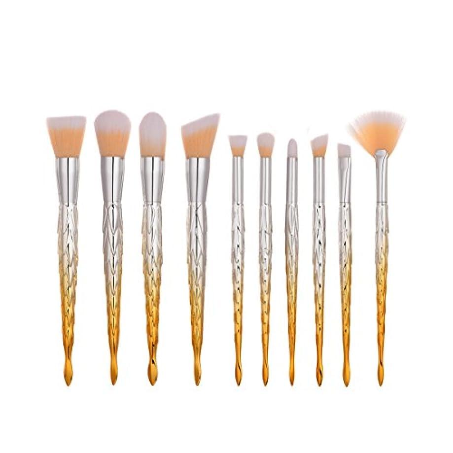 周術期支配する金属ディラビューティー(Dilla Beauty) 10本セットカラフルなマーメイドメイクブラシセットプラスチックハンドル魚ブラシプロフェッショナルフェイスメイクアップブレンダースポンジパフブラシユニークなレインボーブラシ、ティーンズガールズ女性のための格安プライム (オレンジ - ホワイト)