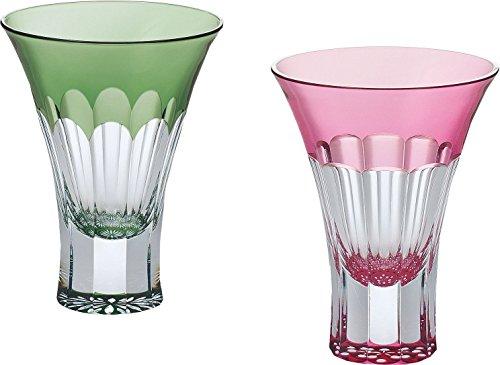 東洋佐々木ガラス ペア冷酒グラス グリーン&ピンク 100ml 八千代切子 杯 菊&紅梅柄 日本製 G543-T67 2個入り