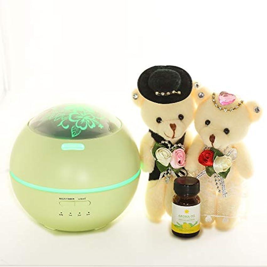 [ファンシー] 誕生日プレゼント 女性 人気 彼女 ホワイトデーお返し アロマディフューザー 超音波式 卓上加湿器 ムードランプ 時間設定 ベットルーム 部屋 会社 投影機能 150ml グリーン df03